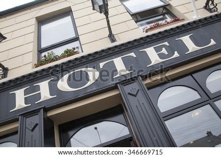Hotel Sign on Diagonal Slant