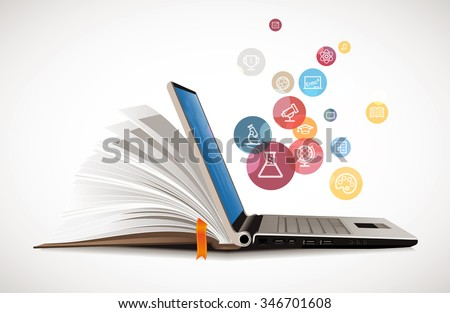 IT Communication - e-learning - internet network as knowledge base Royalty-Free Stock Photo #346701608