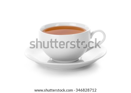 A cup of tea close up, isolated on white background #346828712