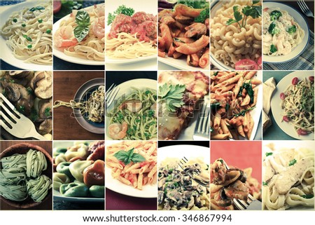 Popular pasta Italian dishes in food collage imagery #346867994
