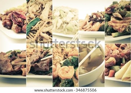 Various popular Chinese food take out dishes in collage image #346875506
