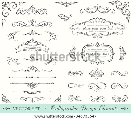 Vintage ornate frames, decorative ornaments, flourish and scroll elements.