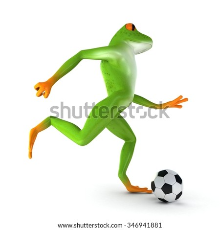 Tropical frog playing football, isolated on white background #346941881
