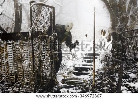 Post apocalyptic survivor in gas mask.  #346972367