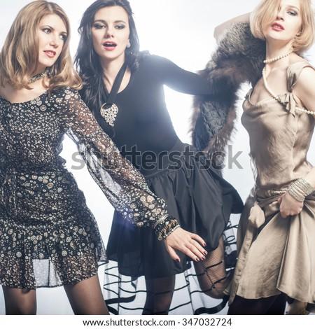 Fashion Group of beautiful young women.  #347032724
