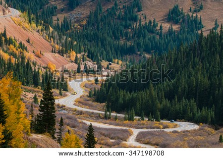 Scenic autumn landscape by Million dollar high way in Colorado #347198708