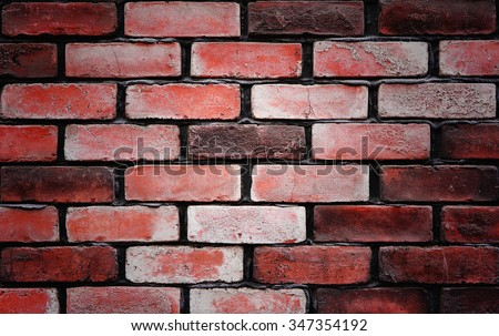 Background of old vintage red brick wall. #347354192
