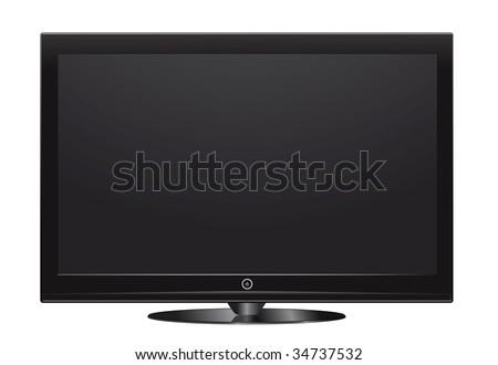 vector plasma lcd tv on white #34737532