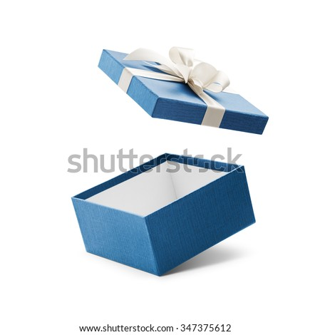 Blue open gift box with white bow isolated on white Royalty-Free Stock Photo #347375612