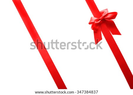 Two ribbons and bow, isolated on white #347384837