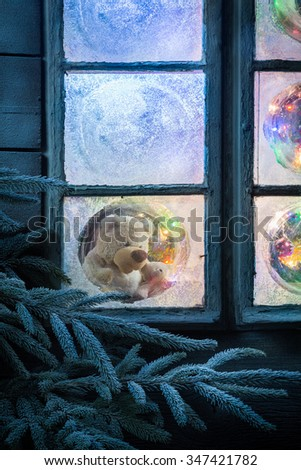 Teddy bear in frozen window for Christmas with tree and lights #347421782