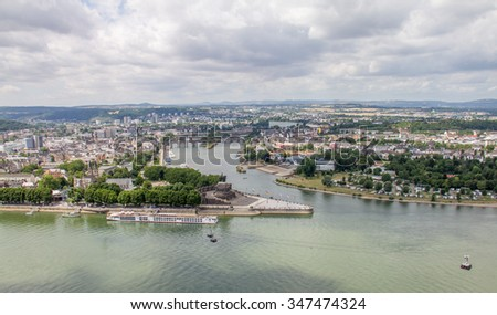 The German Corner (Deutsches Eck) monument at the confluence of Rhine and Mosel rivers in Koblenz with equestrian statue of William the Great, Germany #347474324