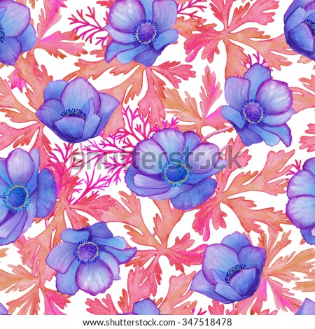 Beautiful seamless floral pattern. Flower  background. Watercolor painting. #347518478