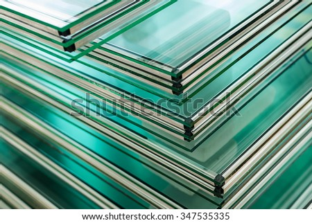 Sheets of Factory manufacturing tempered clear float glass panels cut to size #347535335