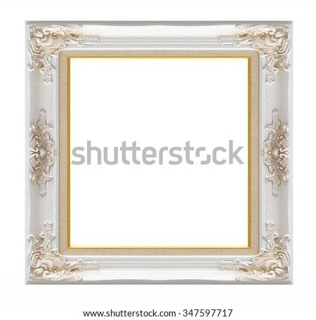 old white wood frame with golden border