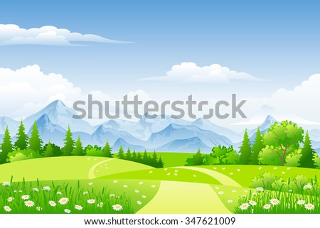 Summer landscape with meadows and mountains #347621009