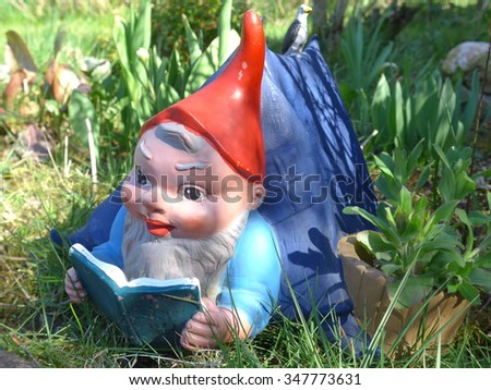 Garden gnome lies on a meadow and reads a book Royalty-Free Stock Photo #347773631