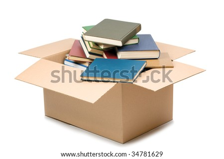 Cardboard box and books isolated on white #34781629