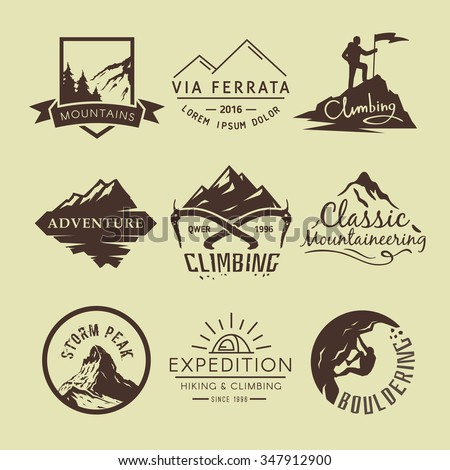 Set of vintage labels on the theme of Climbing, Trekking, Hiking, Mountaineering. Extreme sports, outdoor recreation, adventure in the mountains, vacation. Achievement.