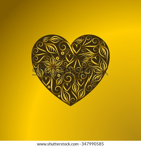 Vintage heart symbol of love valentines day yellow #347990585