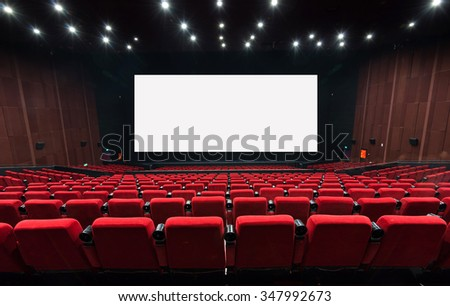 Empty movie theater with red seats #347992673