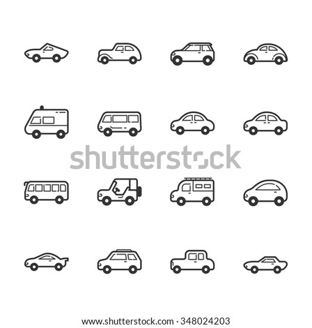 Set of car icons , eps10 vector format #348024203