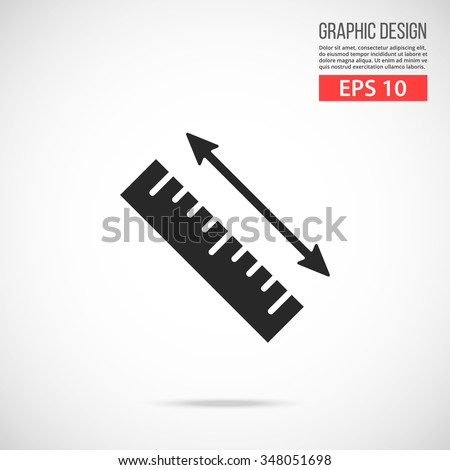 Vector measurement ruler icon. Black icon. Modern flat design vector illustration, quality concept for web banner, web and mobile application, infographics. Vector icon isolated on gradient background