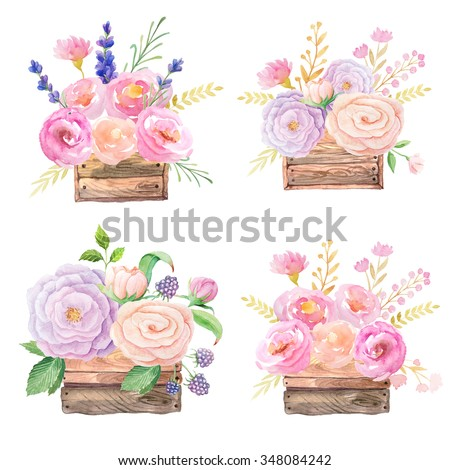 Hand painted watercolor roses in wooden crates  inspired by garden rustic nature and plants. Floral wooden boxes perfect for wedding invitations and cards making.