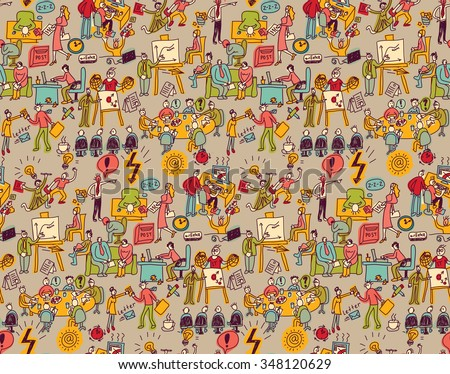Office life seamless pattern business people. Wallpaper with working business people scenes. Color vector illustration. EPS8 #348120629