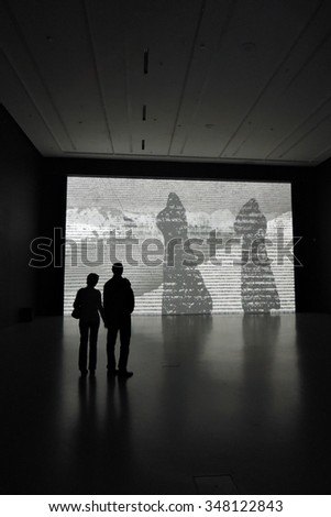 MOSCOW - OCTOBER 25, 2015: The 6th Moscow Biennale of Contemporary Art. Exhibition of Michal Rovner (Israel). #348122843