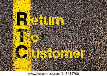 Concept image of Accounting Business Acronym RTC Return To Customer written over road marking yellow paint line. #348454760