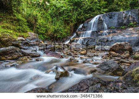 Mae Ra Merng Waterfall - Mae Moei National Park, Tak Province Thailand,defocused #348471386