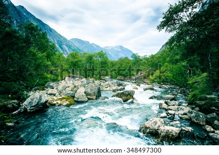 Stormy River in the mountains . Norway #348497300