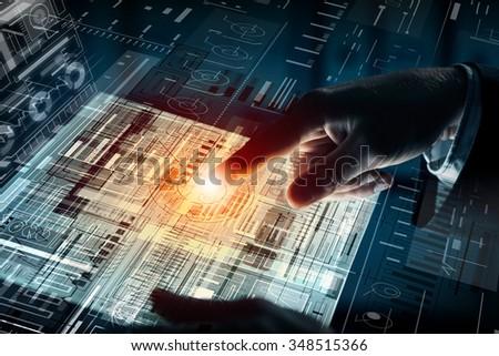 Close up of human hands using virtual panel #348515366