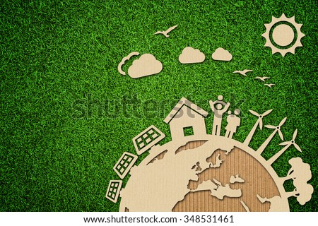 Environmental green energy concept illustration with cardboard cut out on grass. Royalty-Free Stock Photo #348531461