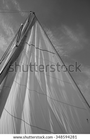 Detail of a sail on a fishing boat #348594281