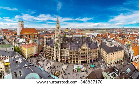 Aerial view on Marienplatz town hall and Frauenkirche in Munich, Germany Royalty-Free Stock Photo #348837170