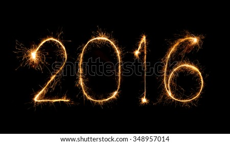Happy new year 2016 written with Sparkle firework #348957014