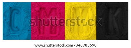Color copier toner cyan magenta yellow, black isolated on white #348983690