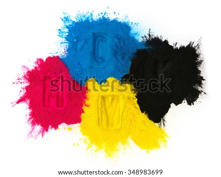 Color copier toner cyan magenta yellow, black isolated on white #348983699