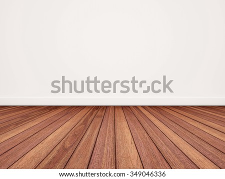 Wood floor with white wall #349046336