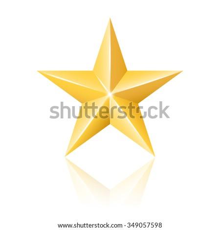 Gold star. 2d illustration