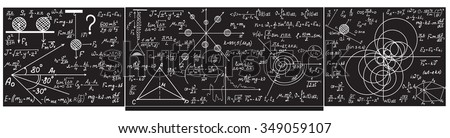 Vector grey chalkboard with handwritten with chalk formulas, equations, figures #349059107