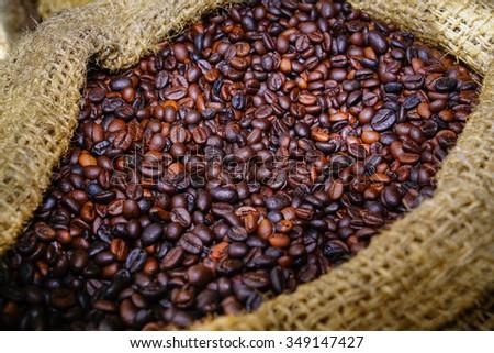 Coffee bean in sack,  #349147427