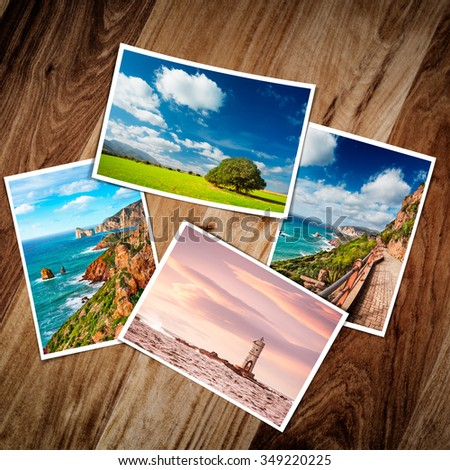 Composite of printed photos with four travel pictures