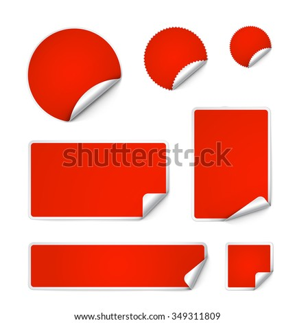 Set of curled stickers isolated on white background. Vector illustration. It can be use for price, promo, adv and etc. #349311809