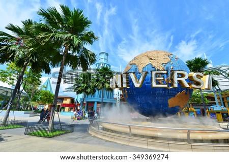 SINGAPORE - NOV, 18 UNIVERSAL STUDIOS SINGAPORE sign on November 18,2014. Universal Studios Singapore is a theme park located within Resorts World Sentosa on Sentosa Island, Singapore #349369274