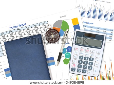 Business and financial report with pen and glasses on desk in office #349384898