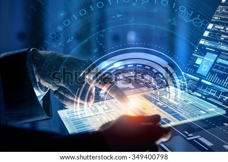 Close up of human hands using virtual panel #349400798
