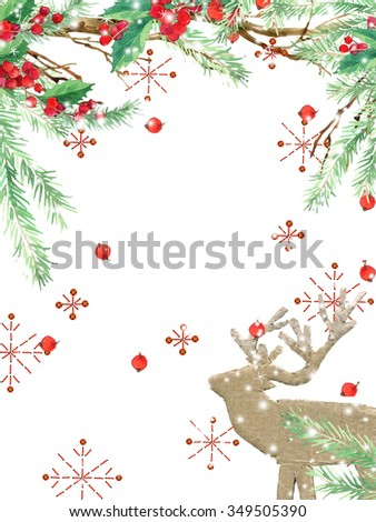watercolor winter holidays background. watercolor illustration Christmas tree, reindeer, mistletoe branch, mistletoe berry, snowflake. watercolor texture background #349505390